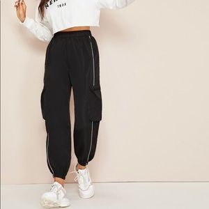 Contrast Piping Windbreaker Cargo Pants from SHEIN